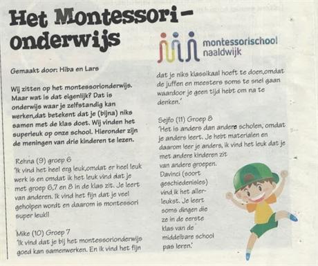 BB3 schrijft over het montessorionderwijs